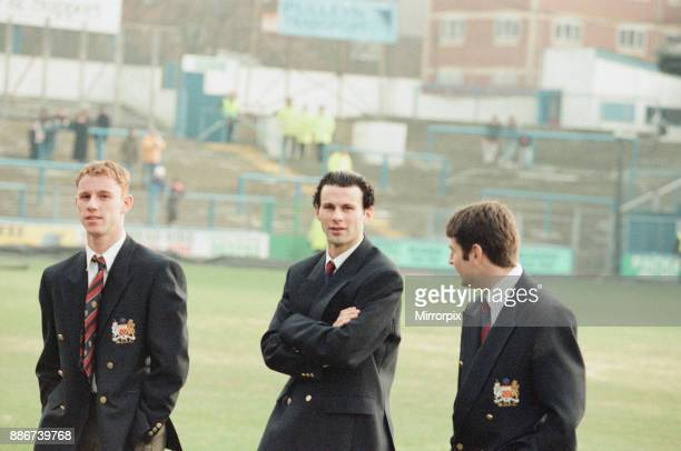 Reading 0-3 Manchester United, FA Cup 4th Round match at Elm Park, Saturday 27th January 1996. Pre match scenes, pictured, Nicky Butt, Ryan Giggs and...
