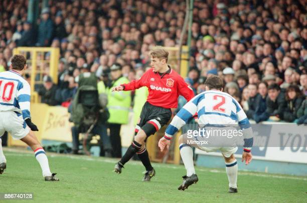 Reading 0-3 Manchester United, FA Cup 4th Round match at Elm Park, Saturday 27th January 1996. Pictured, Phil Neville.