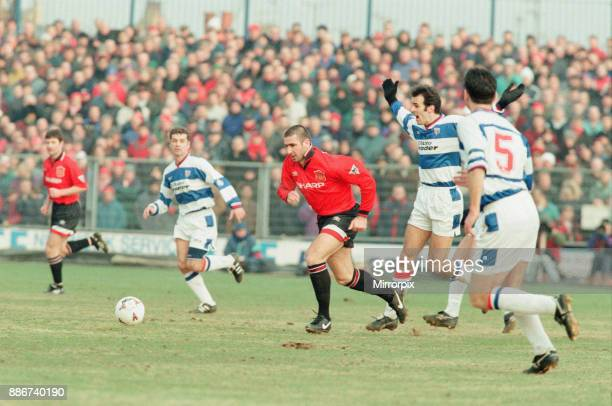 Reading 0-3 Manchester United, FA Cup 4th Round match at Elm Park, Saturday 27th January 1996. Pictured, Eric Cantona.