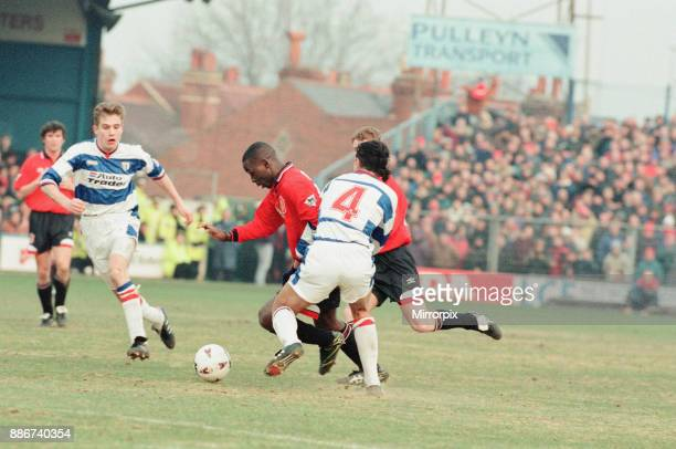 Reading 0-3 Manchester United, FA Cup 4th Round match at Elm Park, Saturday 27th January 1996. Pictured, Andrew Cole.
