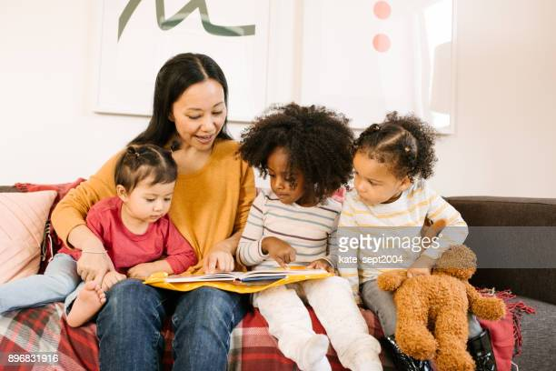 Reading a book for toddlers