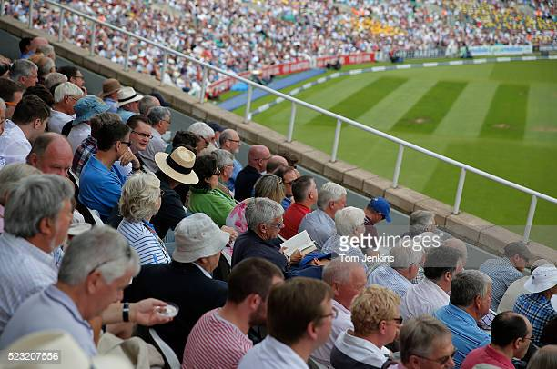 Reading a book in the Bedser stand during day two of the 5th Ashes test match England v Australia at The Oval on August 21st 2015 in London