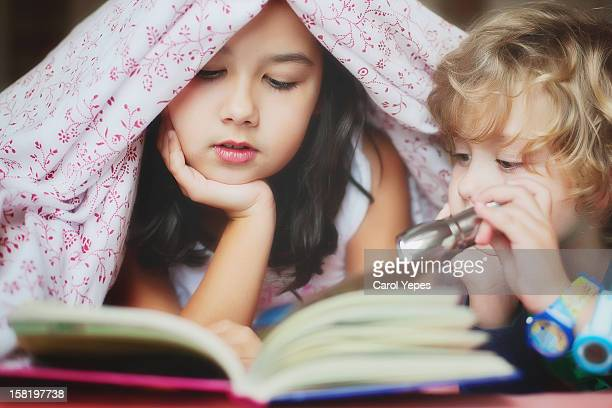 reading a book in the night