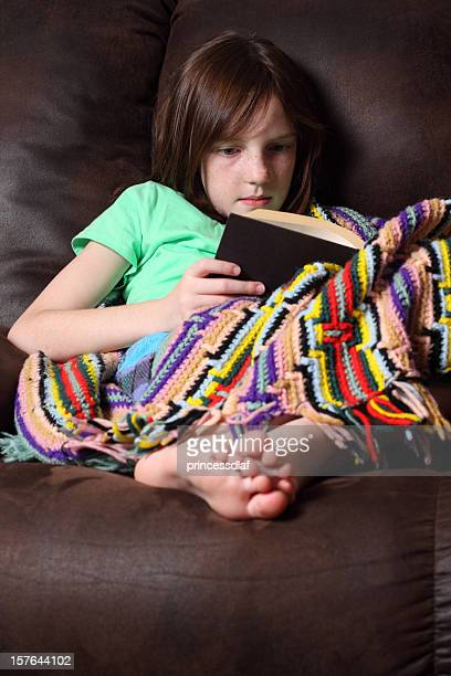 reading a book - little girls bare feet stock photos and pictures