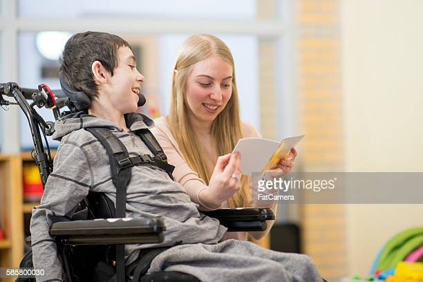 Reading a Book To a Disabled Child