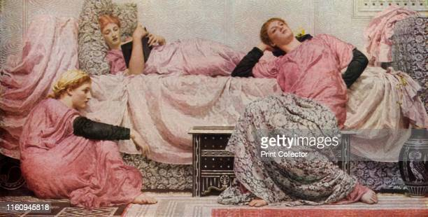 'Reading Aloud' Women in classical dress recline while reading a book Victorian oil on canvas by Albert Joseph Moore Held at Kelvingrove Art Gallery...