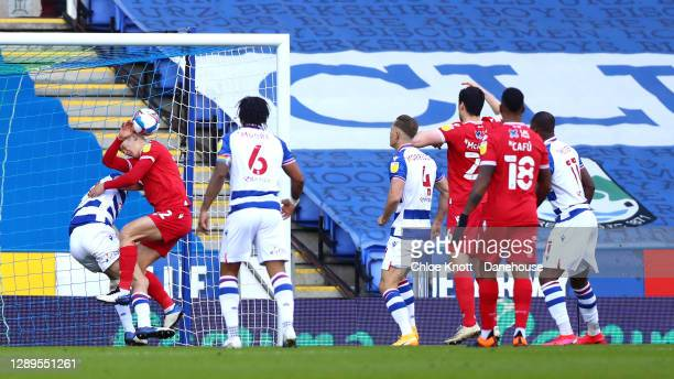 Reading are awarded a penalty from a hand ball by Ryan Yates of Nottingham Forest during the Sky Bet Championship match between Reading and...