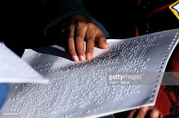 reading braille - braille stock photos and pictures