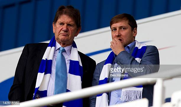 Reading Chairman Sir John Madejski looks on with the clubs new owner Anton Zingarevich prior to the npower Championship match between Reading and...