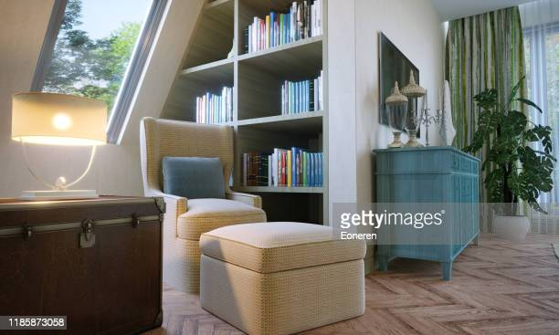 reading corner in attic bedroom - corner stock pictures, royalty-free photos & images