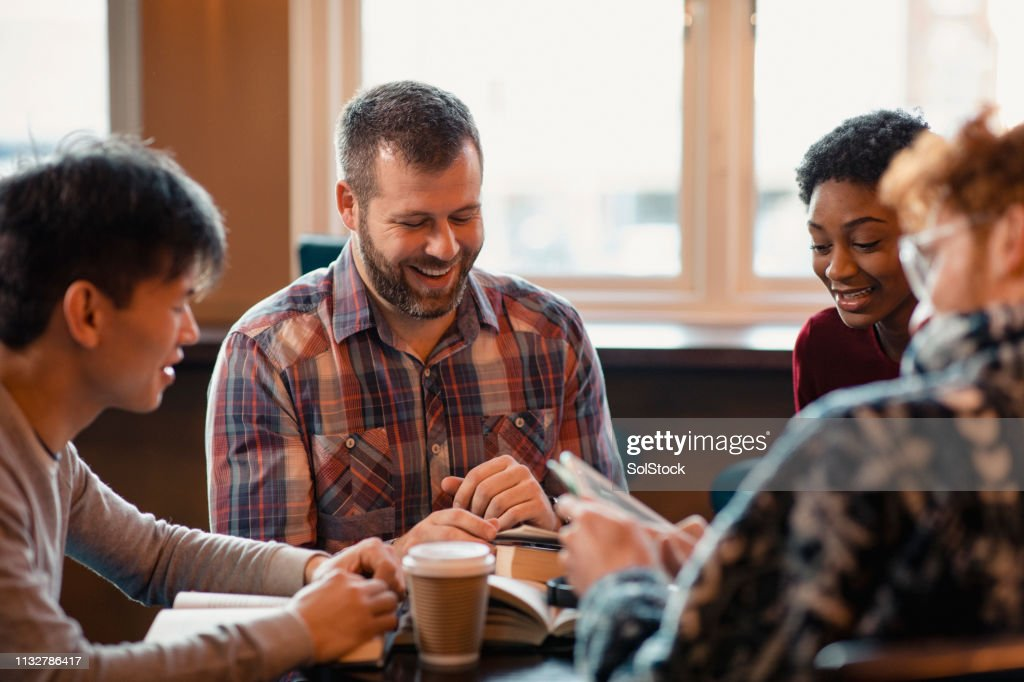 Reading During Book Club : Stock Photo
