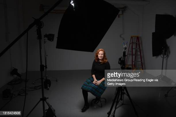 """Reading Eagle Reporter Erin Negley in the photo studio Friday afternoon for a possible column on the video by photographer Peter Hurley """"It's all..."""
