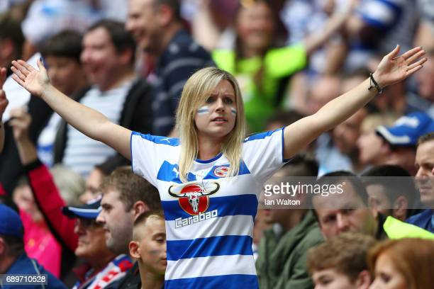 Reading fan shows surport for her team during the Sky Bet Championship play off final between Huddersfield and Reading at Wembley Stadium on May 29...