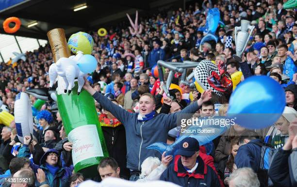 Reading fans celebrate before the npower Championship match between Birmingham City and Reading at St Andrews on April 28 2012 in Birmingham England