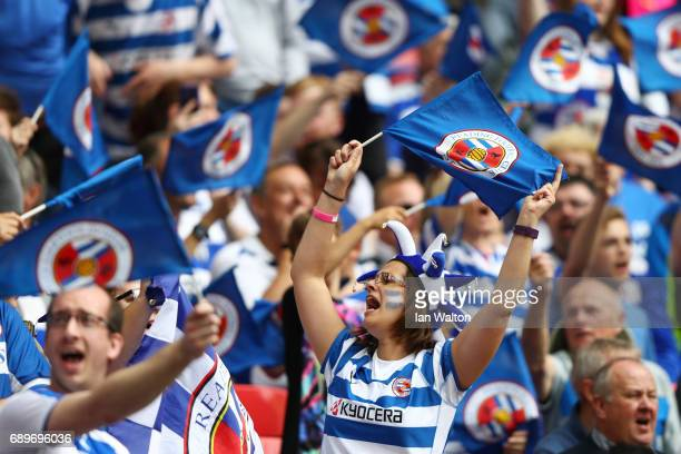 Reading fnas wave their flgs prior to the Sky Bet Championship play off final between Huddersfield and Reading at Wembley Stadium on May 29 2017 in...