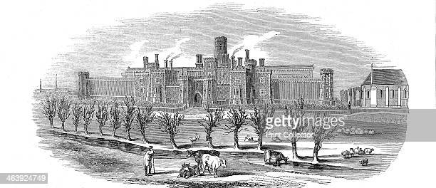 Reading Gaol Berkshire England 1844 Exterior view of new County Gaol opened in 1844 Built on the same plan as the model prison at Pentonville it was...
