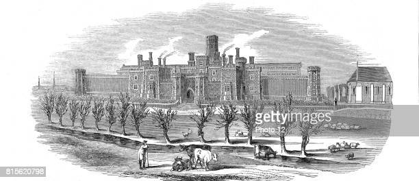 Reading Gaol, Berkshire, England. Exterior view of newly built County Gaol opened in 1844. On same plan as the model prison at Pentonville, it was...