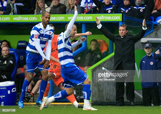 Reading manager Brendan Rodgers remonstrates on the touchline during the Coca Cola Championship match between Reading and Blackpool at the Madjeski...