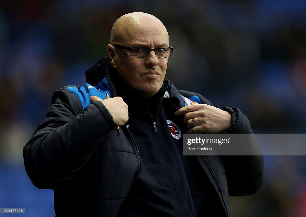 Reading manager Brian McDermott looks on ahead of the Sky Bet Championship match between Reading and Bristol City on January 2, 2016 in Reading, United Kingdom.