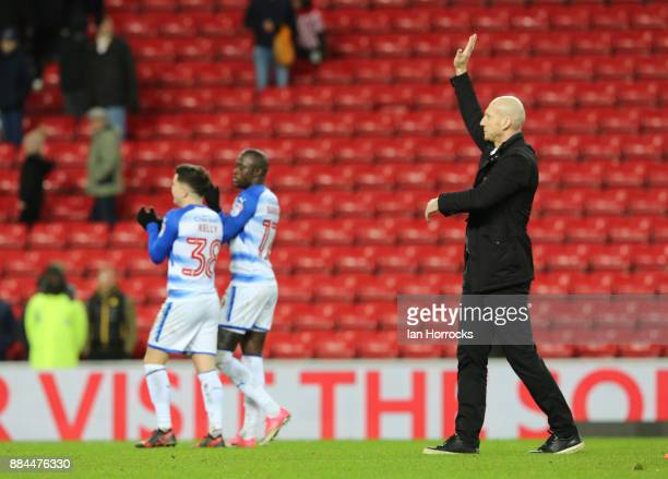 Reading manager Jaap Stam applauds the fans on the final whistle during the Sky Bet Championship match between Sunderland and Reading at Stadium of...