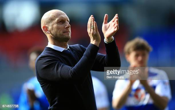 Reading manager Jaap Stam appluads the fans following the Sky Bet Championship match between Reading and Wigan Athletic at Madejski Stadium on April...