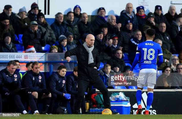 Reading Manager Jaap Stam controls the ball during the Sky Bet Championship match between Ipswich Town and Reading at Portman Road on December 16...