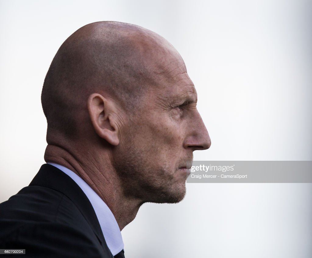 Reading manager Jaap Stam during the Sky Bet Championship match between Fulham and Reading at Craven Cottage on May 13, 2017 in London, England.