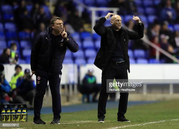Reading manager Jaap Stam gives instructions during the Sky Bet Championship match between Reading and Brentford at Madejski Stadium on February 14...