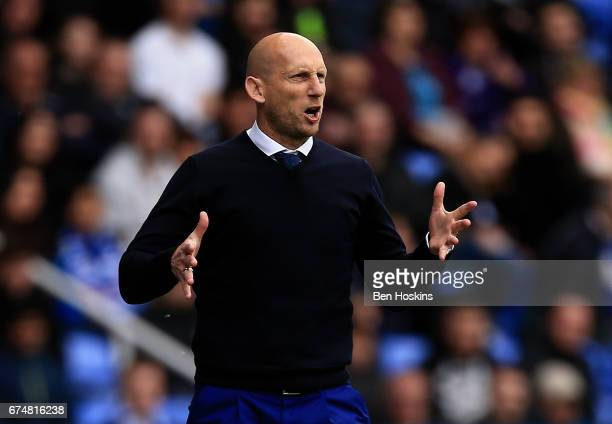 Reading manager Jaap Stam gives instructions during the Sky Bet Championship match between Reading and Wigan Athletic at Madejski Stadium on April 29...
