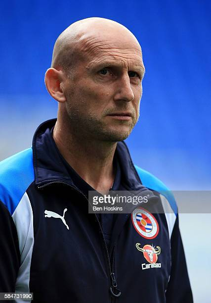 Reading manager Jaap Stam looks on ahead of the pre season friendly match between Reading and AFC Bournemouth at Madejski Stadium on July 29 2016 in...