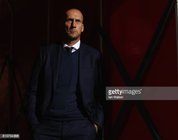 Reading manager Jaap Stam looks on ahead of the Sky Bet Championship match between Brentford and Reading at Griffin Park on September 27 2016 in...