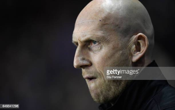 Reading manager Jaap Stam looks on during the Sky Bet Championship match between Reading and Newcastle United at Madejski Stadium on March 7 2017 in...