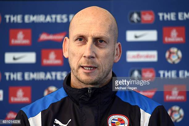 Reading Manager Jaap Stam speaks during a Reading Media Access day prior to their FA Cup match against Mancherster United on January 5 2017 in...