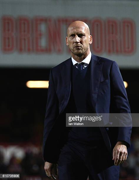 Reading manager looks on Jaap Stam during the Sky Bet Champ ionship match between Brentford and Reading at Griffin Park on September 27 2016 in...