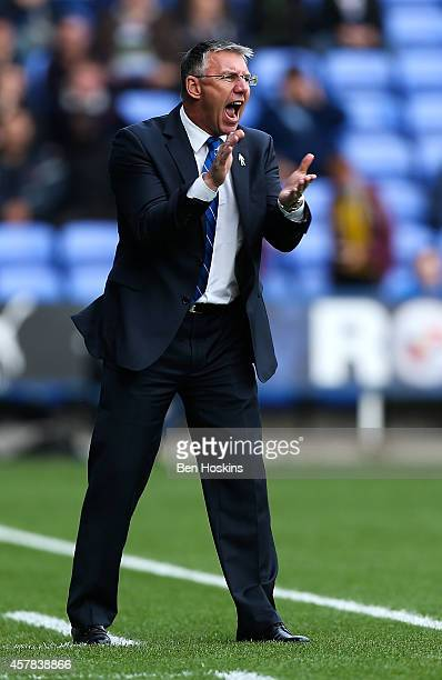 Reading manager Nigel Adkins gives intructions during the Sky Bet Championship match between Reading and Blackpool at Madejski Stadium on October 25...