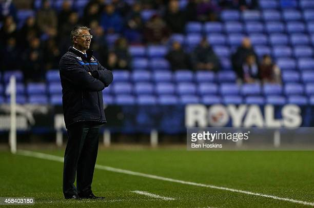 Reading manager Nigel Adkins looks on during the Sky Bet Championship match between Reading and Rotherham United at Madejski Stadium on November 04...