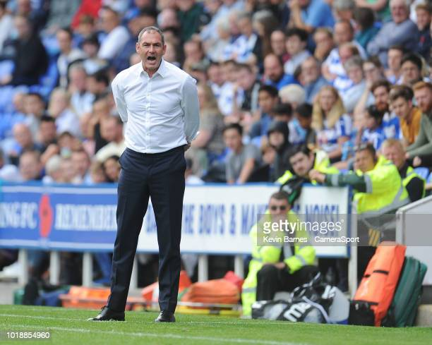 Reading manager Paul Clement shouts instructions to his team from the dugout during the Sky Bet Championship match between Reading and Bolton...