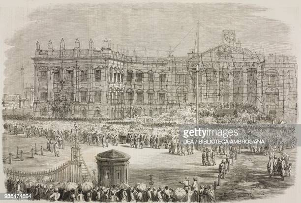 Reading of the proclamation announcing that the Queen Victoria assumed the government of India Raj Bhavan Calcutta illustration from the magazine The...