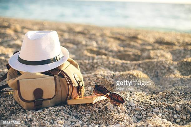 Concepto de lectura en la playa