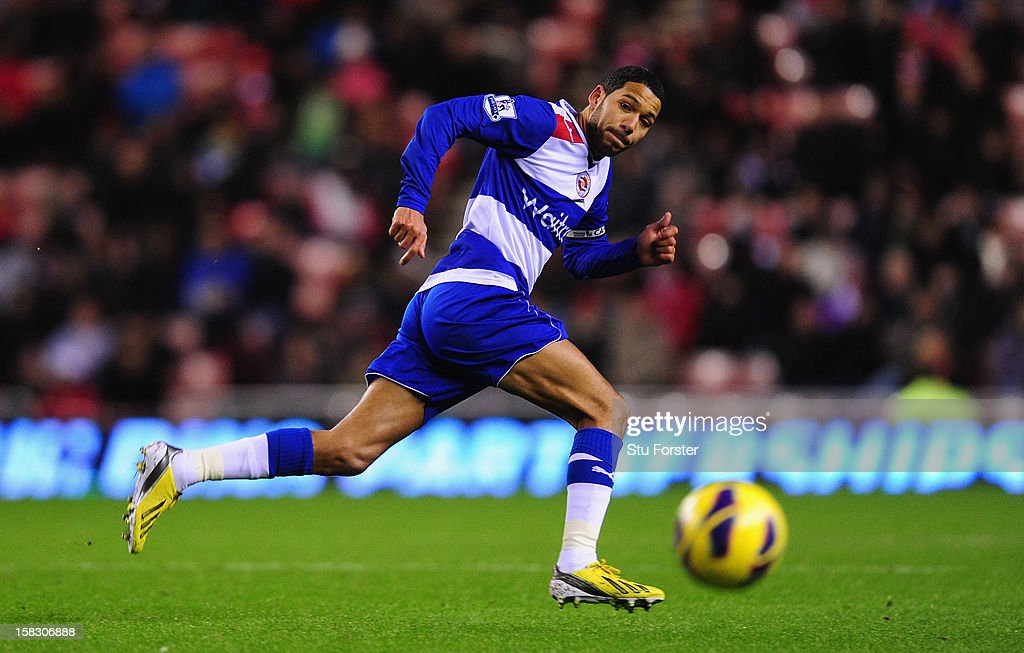 Reading player Jobi McAnuff in action during the Premier League match between Sunderland and Reading at Stadium of Light on December 11, 2012 in Sunderland, England.