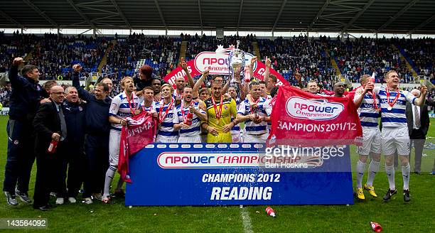 Reading players celebrate during the Reading Football Club Championship Trophy Victory Parade at Madejski Stadium on April 29 2012 in Reading England