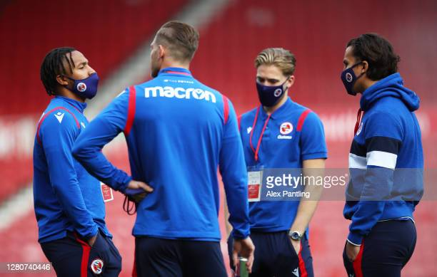 Reading players talk on the pitch prior to the Sky Bet Championship match between Middlesbrough and Reading at Riverside Stadium on October 17 2020...