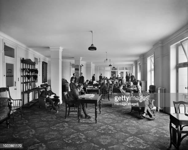 Reading room, Exeter Hall, Strand, London, 1907. An interior view of the reading room in the YMCA's headquarters. The site of Exeter Hall is now...