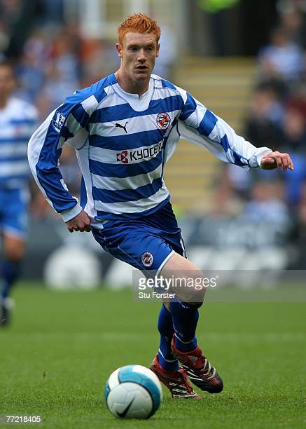 Reading striker Dave Kitson runs with the ball during the Barclays Premier League match between Reading and Derby County at the Madejski Stadium on...
