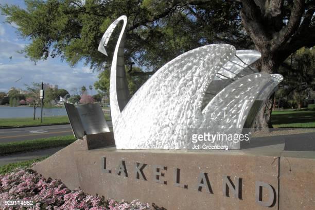 Reading Swan sculpture at Lake Morton.