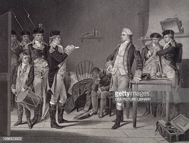 Reading the English major John Andre's death sentence United States of America engraving American Revolutionary War 18th century