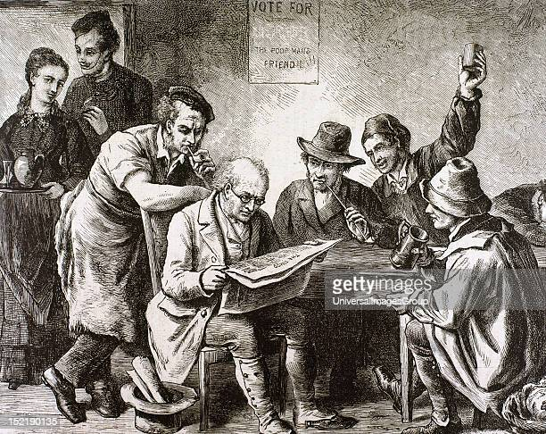 Reading the newspaper in the tavern Engraving 1876