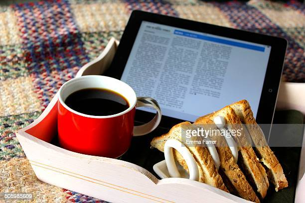 Reading the Sunday papers online on an iPad with breakfast in bed
