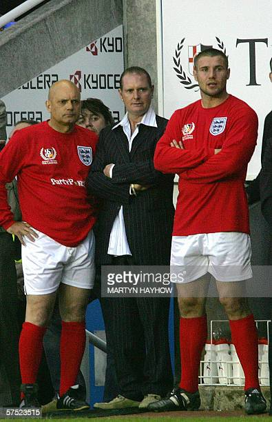 Englands former player Ray Wilkins Paul Gascoigne and England Rugby player Beh Cohen watch the charity match England v Germany Legends Match at the...