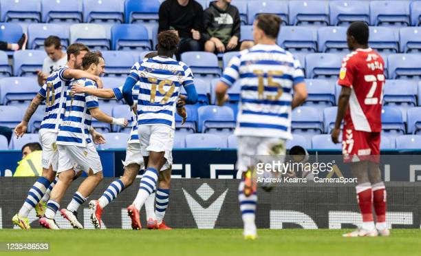 Reading United's Alen Halilovic celebrates scoring his side's first goal during the Sky Bet Championship match between Reading and Middlesbrough at...